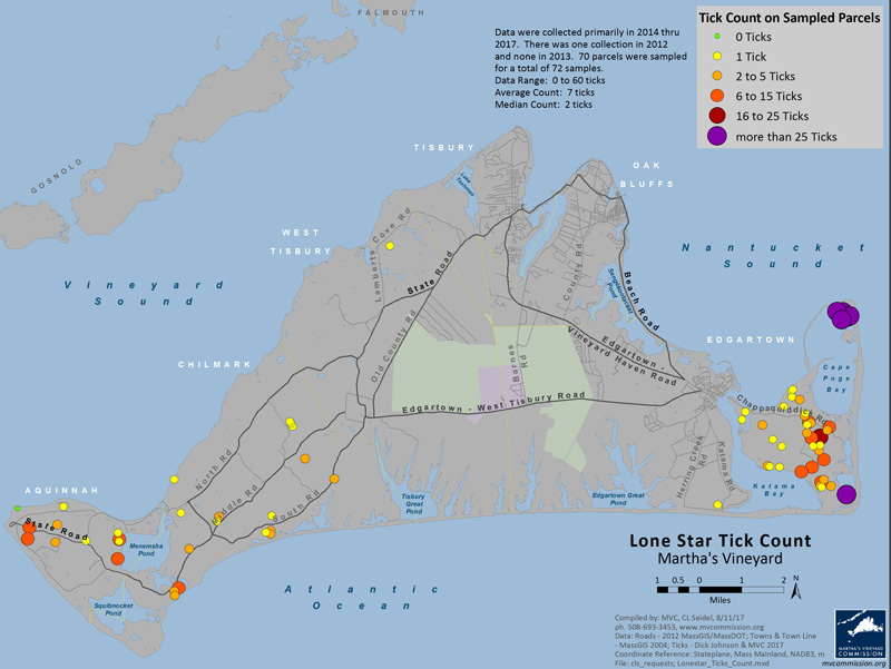 new map pinpoints sites where lone star ticks have been found on island