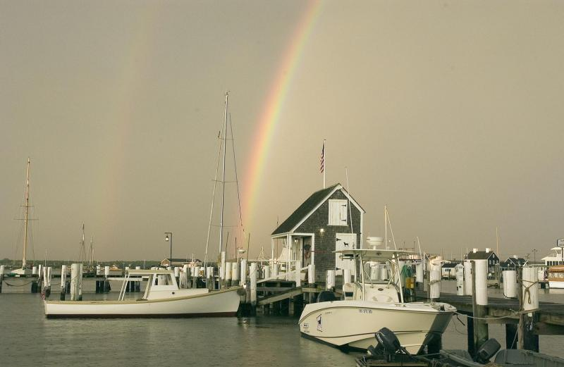 rainbow over the water
