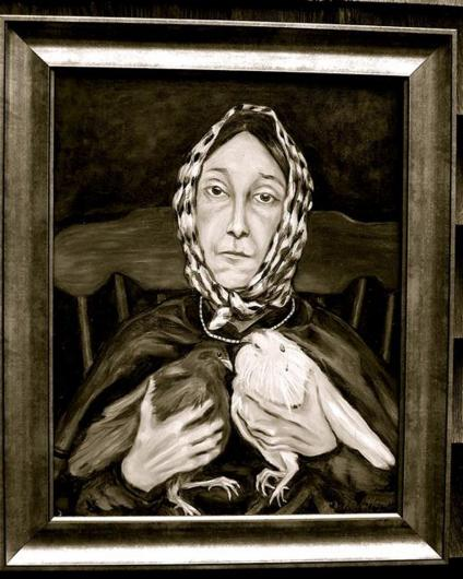 Ruth Major's painting of Vineyard icon Nancy Luce.