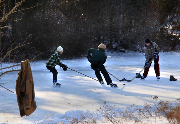 hockey game on Parsonage Pond