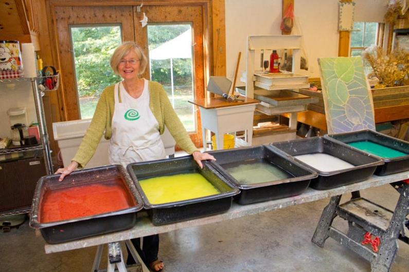 paper laboratory with Sandy Bernat, owner of Seastone Papers