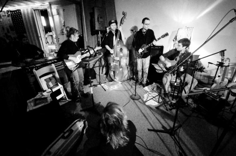 music band instruments jam BW