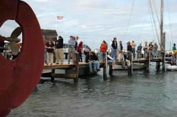 crowd on dock