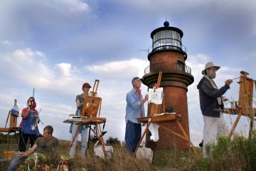 Vineyard artists at lighthouse