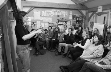 Roberta Kirn rehearses.