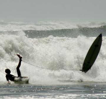 surfer wipes out
