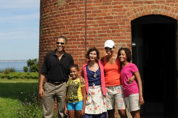 President Obama & family with Joan LeLacheur