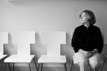 Joann Breuer in a chair