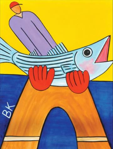 illustration painting man fish