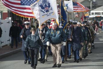 Veterans parade american flag