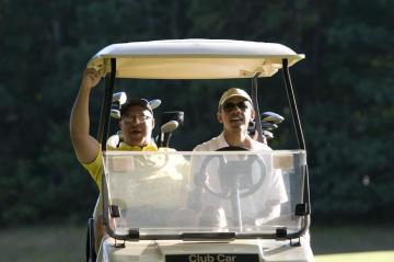 Barack Obama Eric Whitaker POTUS golf cart