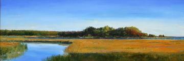 painting creek meadow field water