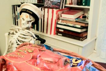 Halloween preparations skeleton sailor hat