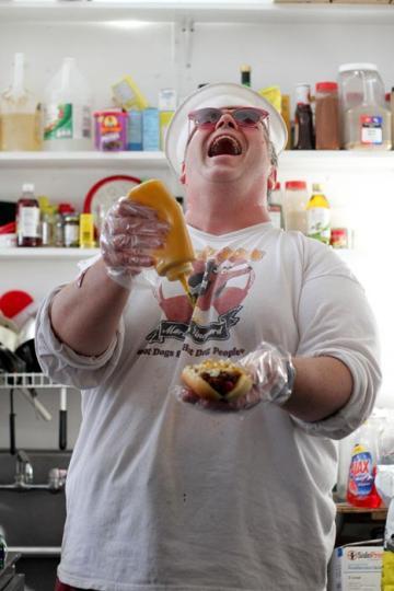 laughing man mustard hotdog restaurant
