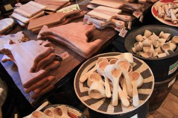 wood cutting boards spoons