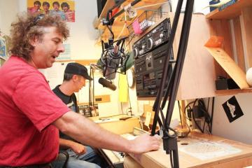 Rick Padilla Keith Bassett radio studio microphone