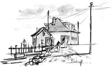 BW line drawing illustration boathouse