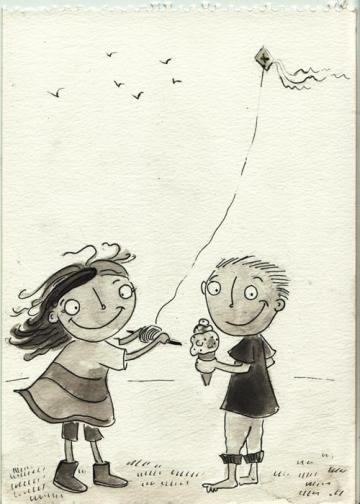 kite kids ice cream girl boy cartoon