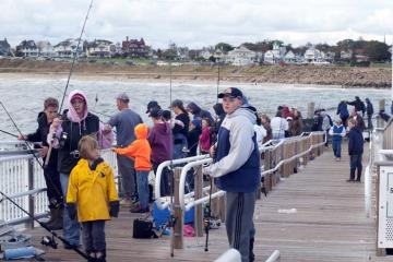 kids fishing wharf