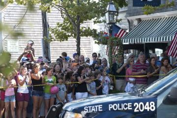 police car crowd