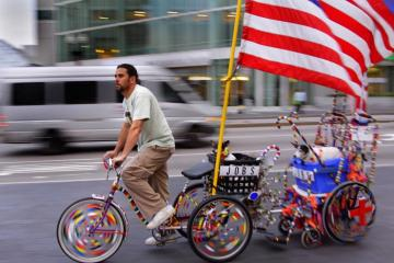 American Flag bicycle trailer