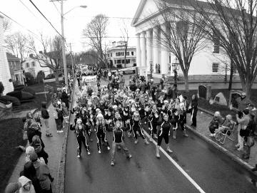 Christmas Parade Edgartown band BW