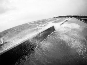 seawall flood BW