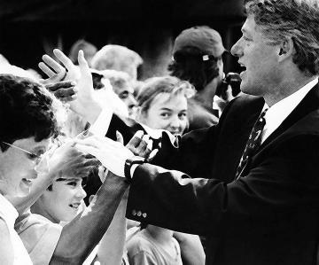 Bill Clinton BW crowds