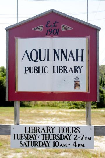 aquinnah public library sign