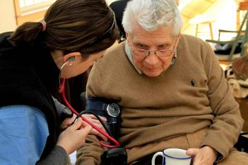VNA nurse Kristine Cammorata with Allen Janger.