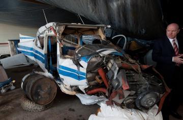 damaged airplane Donald J. Nolan