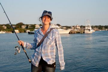 Farmer, Amy Vickers fishes
