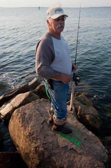 Bernie Arruda goes fishing on jetty