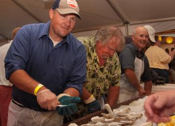 shucking oysters
