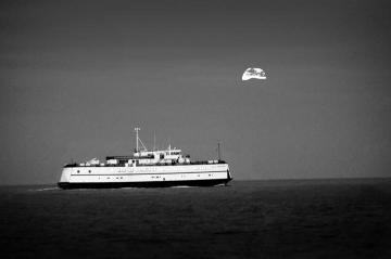 BW sunset ferry moon