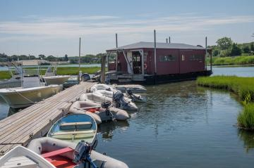 floating workshop in Vineyard Haven Harbor