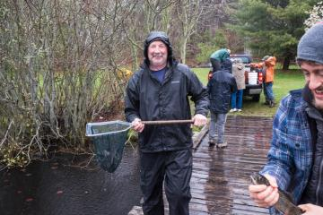 Stocking Duarte's Pond for kids' trout tournament