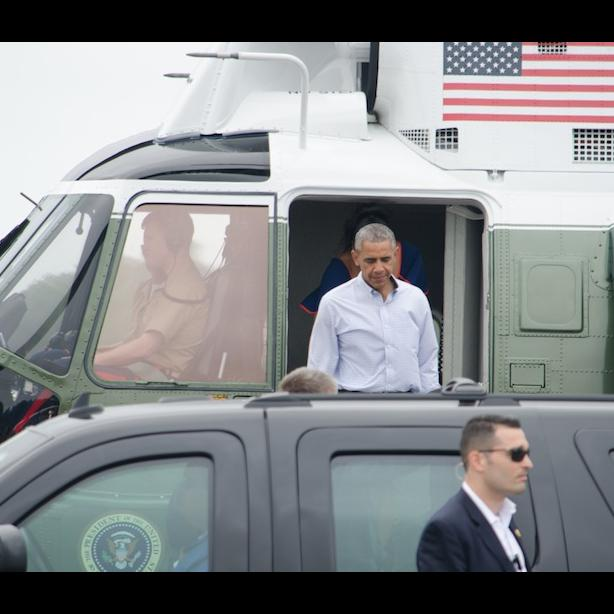 President Obama arrives on Martha's Vineyard on August 6, 2016.