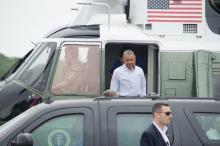 President Obama arrives on Martha's Vineyard on August 6, 2016.