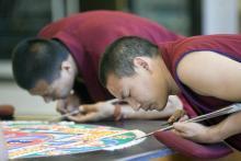 tibetan monks, sand, mandala