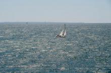 A lone sailboat in Vineyard Sound.