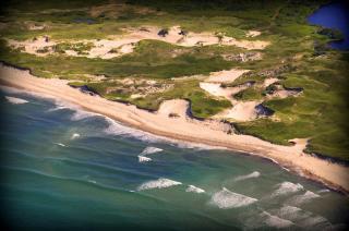 shoreline of kennedy property in aquinnah