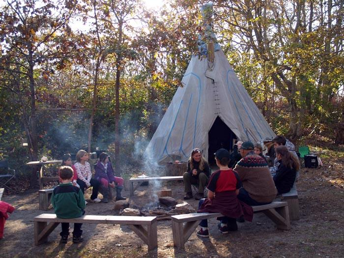 teepee fire pit kids forest