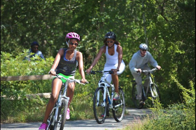 Obama Martha's Vineyard Bike Ride State Forest First Lady Vacation