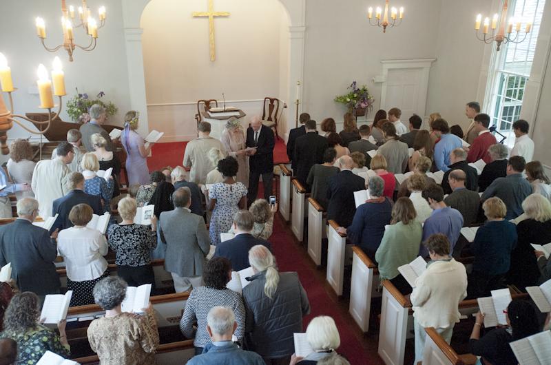 The congregation sang a hymn