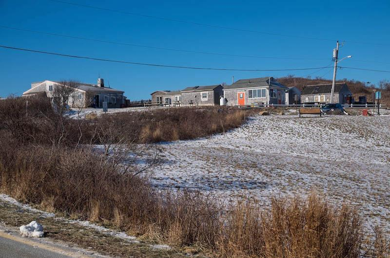 Aquinnah shops bathed in ice.