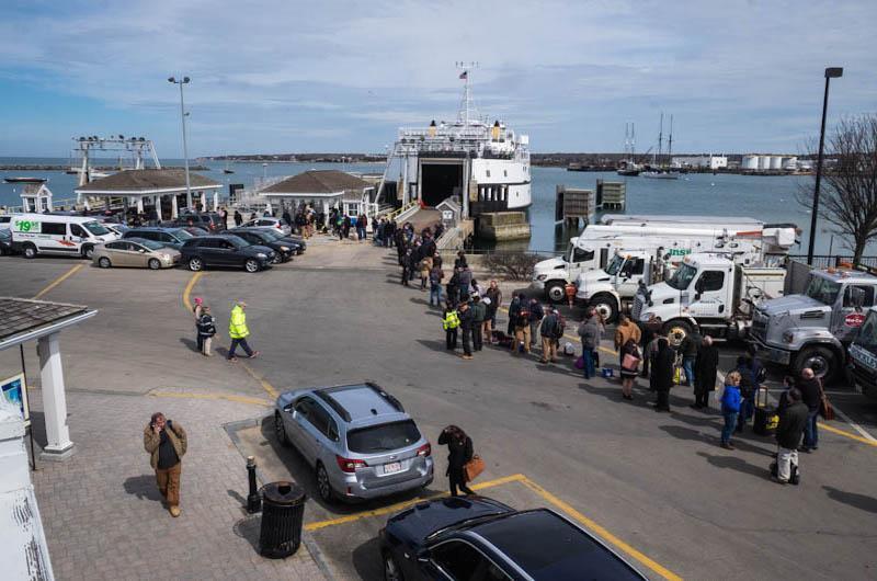 Long line awaiting the next ferry.