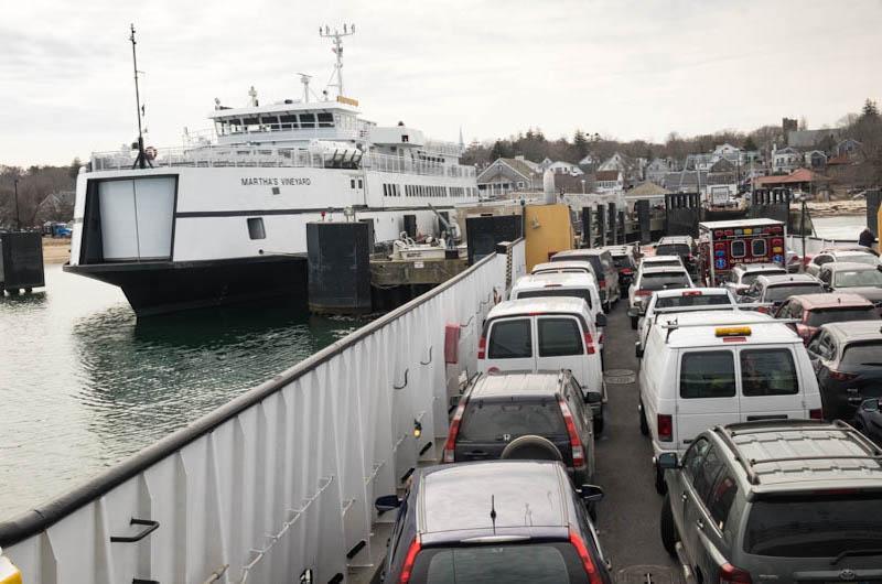 Freight boat Sankaty departs Vineyard Haven.