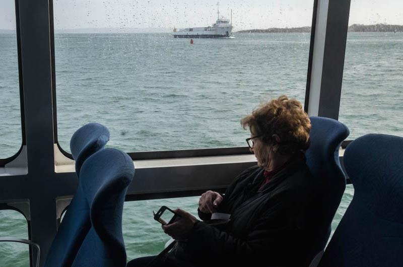 A quiet ride on the fast ferry Seastreak.