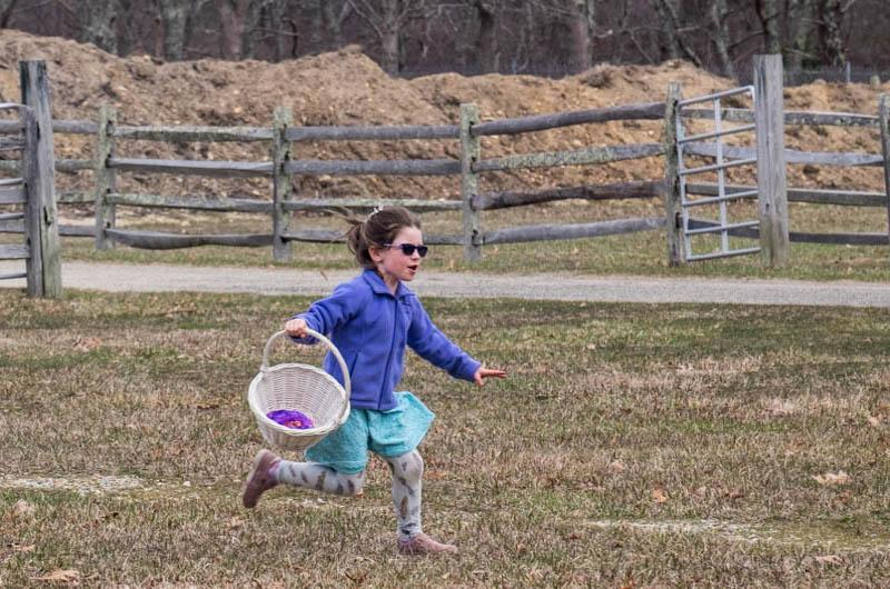 Sunglasses are fashionable at the West Tisbury egg hunt.